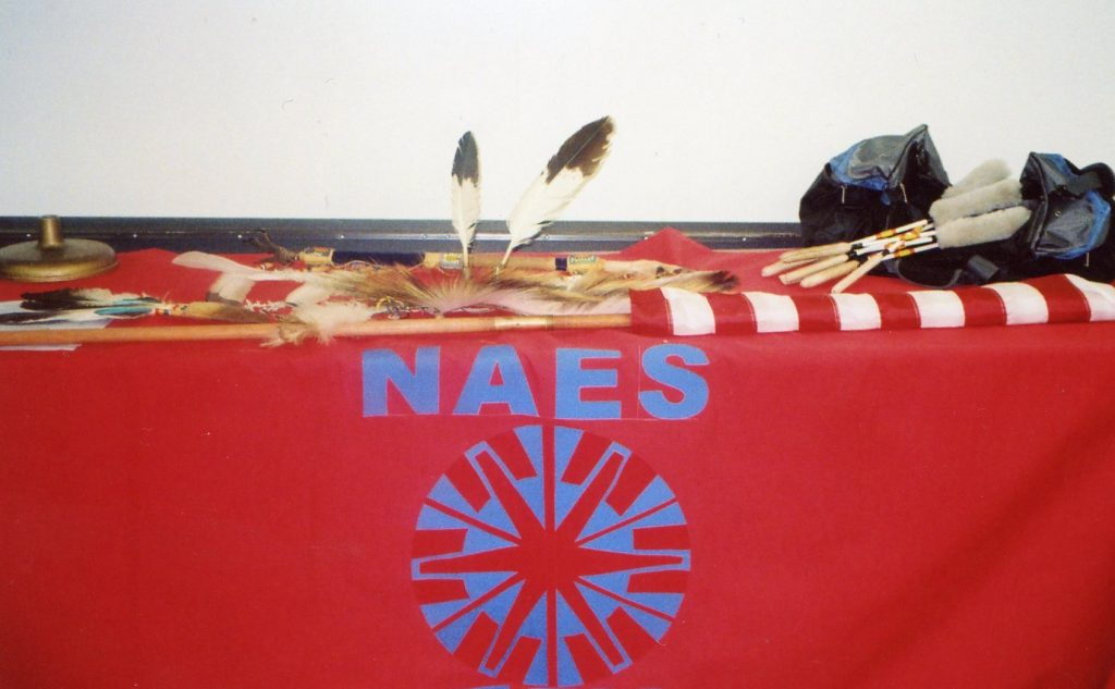 NAES logo on red table cloth with feathers, flags