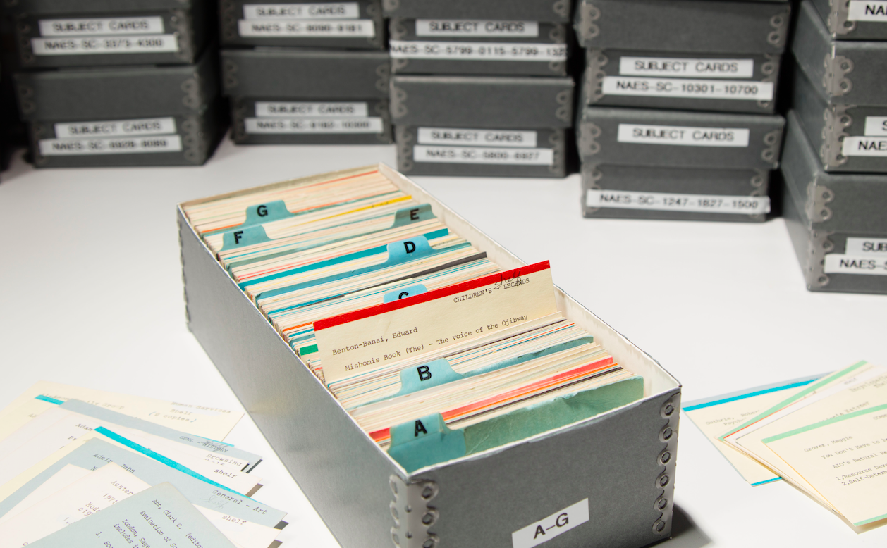 A picture of some of the catalog cards from NAES College library featuring one for an Ojibwe children's book by Edward Benton-Banai